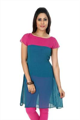 Steel blue and pink chiffon readymade kurti (k13)