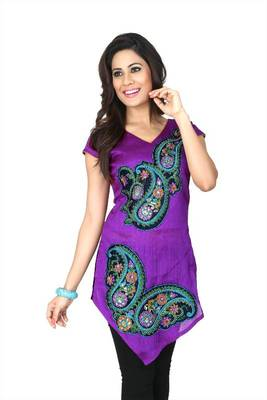 Purple bhagalpuri silk readymade kurti (k31)