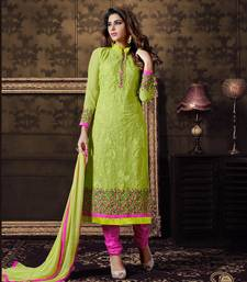 Buy Green georgette embroidered semi stitched salwar with dupatta festive-salwar-suit online