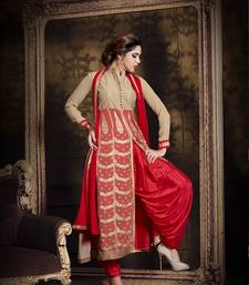 Red and beige net embroidered semi stitched salwar with dupatta