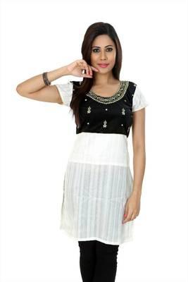 White bhagalpuri silk readymade kurti (k24)