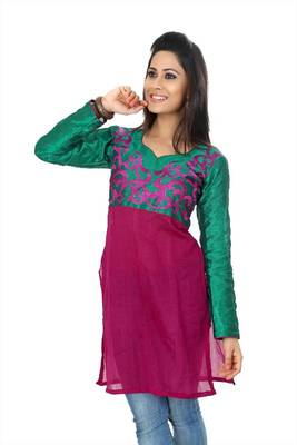 Dark magenta and teal green bhagalpuri readymade kurti (k26)
