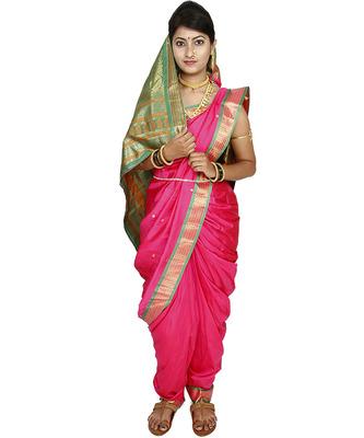 Pink Plain Art Silk Chanderi Nauvari Saree