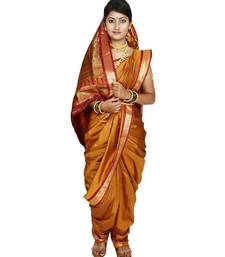 Buy Gold plain art silk chanderi nauvari saree nauvari-saree online