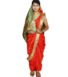 Buy Orange plain art silk chanderi nauvari saree nauvari-saree online