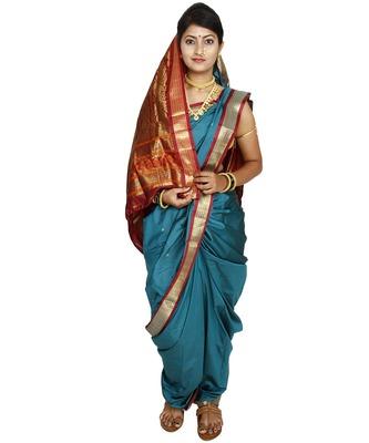 Green Plain Cotton Silk Nauvari Saree