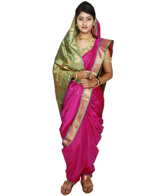 Pink plain cotton silk nauvari saree