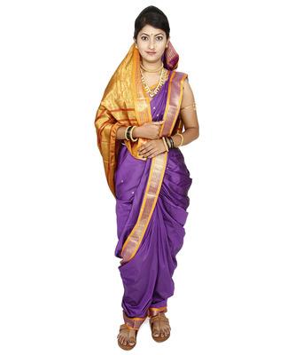 Purple Plain Cotton Silk Nauvari Saree