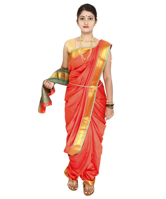 Orange Plain Art Silk Chanderi Nauvari Saree