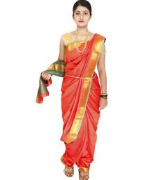 Orange Plain Art Silk Chanderi Nauvari Saree