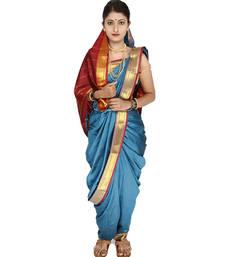 Blue Plain Art Silk Chanderi Nauvari Saree