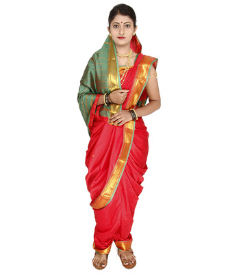 Red Plain Cotton Silk Nauvari Saree