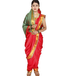 Buy Red plain cotton silk nauvari saree nauvari-saree online