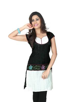 Black and white bhagalpuri silk readymade kurti (k29)