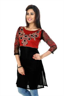 Red and black bhagalpuri silk readymade kurti (k33)