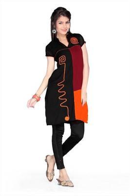Black, maroon and orange chiffon readymade printed tunic (k51)