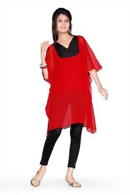 Red chiffon printed readymade kaftan (k36)