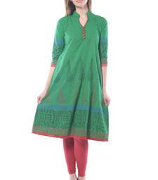 Buy Green cotton block print stitched kurti long-kurtis online