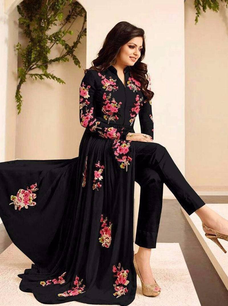 701a75b66 Black georgette embroidered semi stitched salwar with dupatta ...
