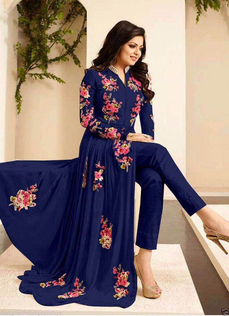7448c0749d9 Blue georgette embroidered semi stitched salwar with dupatta ...