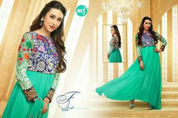 Karishma Kapoor Blue Anarkali Dress