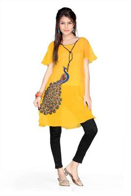 Golden yellow chiffon readymade tunic (k53)