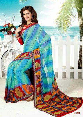 Bhuwal FashionBlue Red Georgette Saree  with UnStiched Blouse