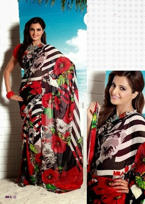 Bhuwal Fashionred Black Georgette Saree  with UnStiched Blouse