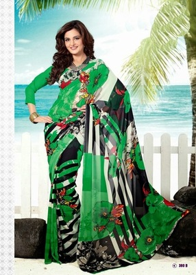 Bhuwal FashionGreen Black Georgette Saree  with UnStiched Blouse