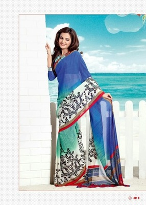 Bhuwal FashionBlue White Black Georgette Saree  with UnStiched Blouse