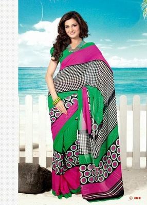 Bhuwal FashionGreen Pink Black Orange Georgette Saree  with UnStiched Blouse