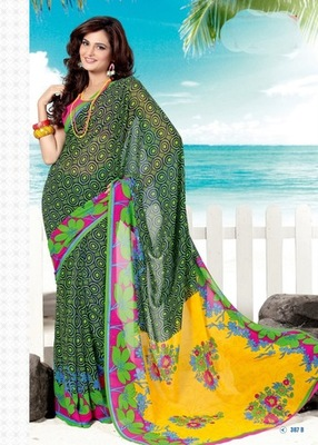 Bhuwal FashionGreen Black Yellow Pink Georgette Saree  with UnStiched Blouse
