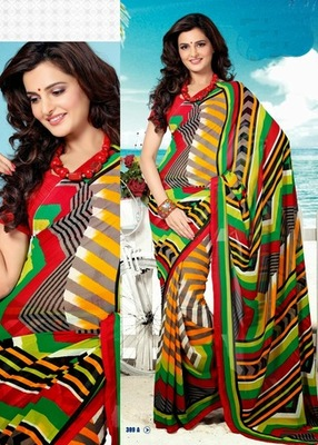 Bhuwal FashionRed Green Yellow Multi Color Georgette Saree  with UnStiched Blouse