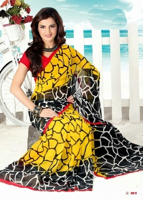 Bhuwal FashionYellow Black Red Border Georgette Saree  with UnStiched Blouse