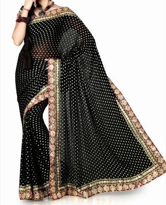 Black viscose saree with blouse (anc460)
