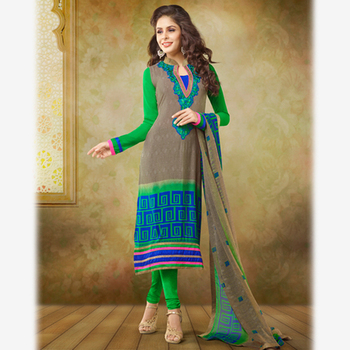 Printed and Embroidered Beige and Green Crepe Suit