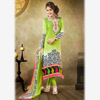 Printed and Embroidered Green Crepe Suit