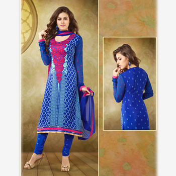 Printed and Embroidered Blue Crepe Suit