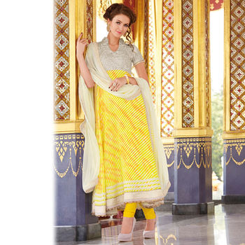 Yellow and White Anarkali Salwar Kameez
