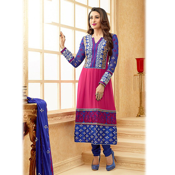 Blue and Magenta Designer Anarkali Suit