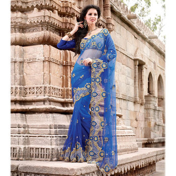 Blue net fabric Embroidered Party Wear Saree