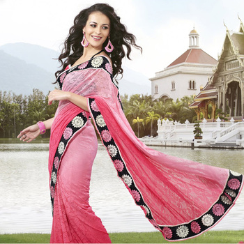 Embroidered Saree of Pink Jacquard fabric