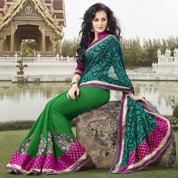 Green Embroidered Saree on Brasso and Chiffon