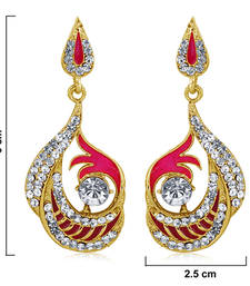 Buy Best-Selling Pink and High Gold Look Fashion Earring danglers-drop online