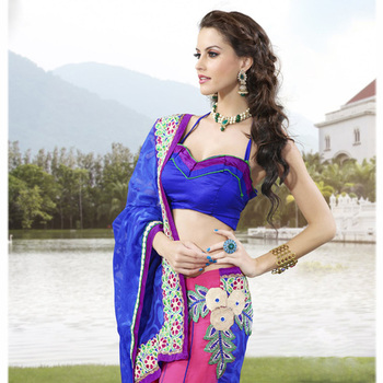 The Blue and Pink embroidered ladies Party wear Lehenga saree based on Jacquard and Chiffon Fabric.