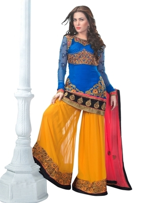 Triveni Miraculous Blue Colored Wedding Wear Semistitched Salwar Kameez TSANSK7007