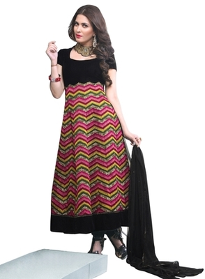 Triveni Miraculous Black Colored Wedding Wear Semistitched Long Anarkali TSANSK7012