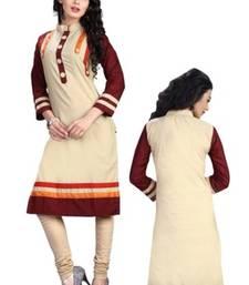 Buy cream and coffee cotton printed straight semi stitched kurti eid-kurti online