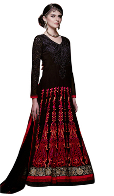 Triveni Breathtaking Black Colored Indian Traditional Wedding Anarkali Suit TSXRASK311