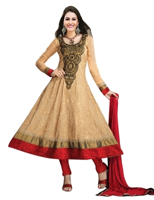 Triveni Splendid Party Wear Embroidered Beige Color Indian Ethnic Salwar Kameez TSXAVSK108